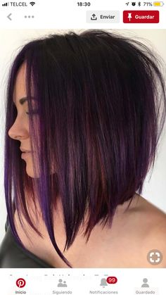 Purple Tinted Brunette Lob beautiful hair styles 70 Best A-Line Bob Hairstyles Screaming with Class and Style Brunette Lob, Rich Brunette, Bob Hairstyles Brunette, Inverted Bob Hairstyles, Long Bob Haircuts, Bob Haircut Long, Angeled Bob Haircut, Long Bob Haircut With Layers, 2018 Haircuts