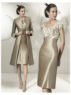 Sheath/Column Sleeveless Square Knee-Length Applique Satin Mother of the Bride Dresses at Jolly Feel