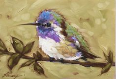Hummingbird painting 5x7inch original oil painting par LaveryART