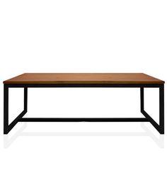 mesa ratona en madera pino brasil y estructura de hierro.
