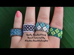 DIY Peyote | Perlenring fädeln | Schmuck | Beaded delica ring | Beadwork jewelry - YouTube