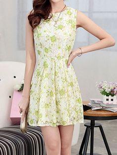 $11.00 Stylish Women's Scoop Neck Floral Print Sleeveless Lace Dress