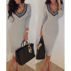 Sexy Plunging Neck Long Sleeves Striped Splicing Dress For Women