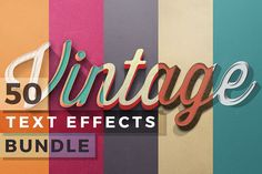 50 Vintage Text Effects Bundle by Zeppelin Graphics on Creative Market