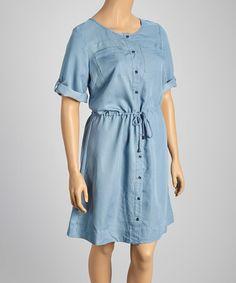 Look what I found on #zulily! Light Chambray String-Tie Button-Up Dress - Women & Plus #zulilyfinds