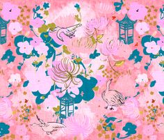 spring cherry blossoms fabric by fable_design on Spoonflower - custom fabric