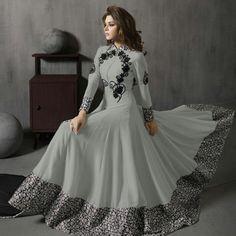 Georgette+Thread+Work+Grey+Unstitched+Long+Anarkali+Suit+-+KTS352 at Rs 1899