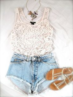 White Lace Top and Denim Shorts with Sandals