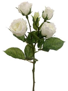 Faux Cabbage Rose Spray in White