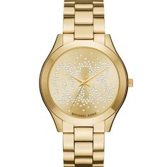 Shop for Michael Kors Women's Slim Runway Crystal-Set Gold Dial Gold-Tone Stainless Steel Bracelet Watch. Get free delivery On EVERYTHING* Overstock - Your Online Watches Store! Michael Kors Rose, Michael Kors Watch, Hand Bracelet, Bracelet Watch, Stainless Steel Watch, Stainless Steel Bracelet, Hand Armband, Hand Watch, Crystal Bracelets