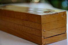 Antique pencil box with sliding dovetail compartments and a ruler on top. (Sold, but good inspiration) Wooden Pencil Box, Pencil Boxes, Dovetail Box, Wood Joints, Honey Colour, Wood Carving, Colored Pencils, Wood Crafts, Woodworking Projects