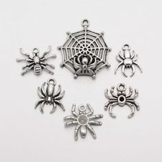 5Sets Mixed Tibetan Style Alloy Pendants Spider & Web Antique Silver Charms DIY
