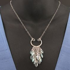 Aqua Chalcedony Necklace, Sterling Chain, Wire-Wrapped Briolettes, Wirework Focal. $118.00, via Etsy.