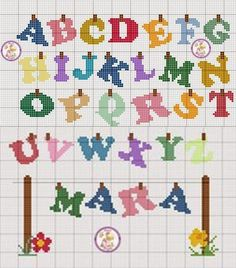 Cross Stitch Letter Patterns, Cross Stitch Thread, Cross Stitch Letters, Cross Stitch Boards, Cross Stitch Baby, Cross Stitch Designs, Cross Stitching, Cross Stitch Embroidery, Stitch Patterns