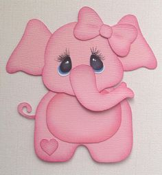PREMADE BABY GIRL ELEPHANT PAPER PIECING BY MY TEAR BEARS KIRA