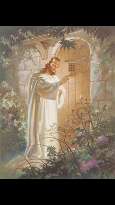 """""""Here I am! I stand at the door and knock. If anyone hears my voice and opens the door, I will come in and eat with that person, and they with me."""" Revelation 3:20 NIV"""