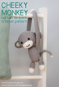 Cheeky Monkey curtain tie back crochet pattern por ThoresbyCottage