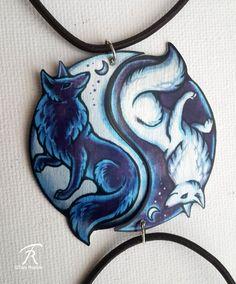 b57b2d5c9 Black White Yin Yang Fox Vulpine Spiritual Duality Pair Bond Friendship  Romantic Couple Valentine Metal Necklace Pendant