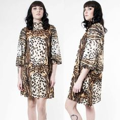 1960s Mod Cheetah Batwing Dress by rumors on Etsy, $98.00