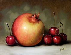 """""""Yellow Pomegranate and Cherries"""" - Original Fine Art for Sale - © Clinton Hobart"""