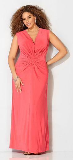 5137c4931656e Plus Size Coral Knot Front Maxi Dress