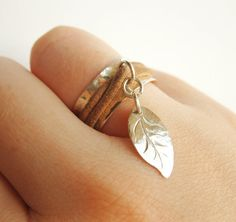 Leaf Charm Ring  Spinner Ring   Hammered Sterling by LiuRokSilver, $42.00