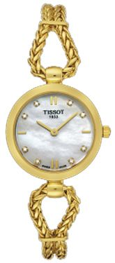 T73.3.145.76   NEW TISSOT T-GOLD FINE LADY WOMENS WATCH Usually ships within 8 weeks - FREE Overnight Shipping - NO SALES TAX (Outside California) - WITH MANUFACTURER SERIAL NUMBERS - White Mother of Pearl Dial with Diamonds      - Battery Operated Quartz Movement - 3 Year Warranty - Guaranteed Authentic  - Certificate of Authenticity - Solid 18K Gold Case