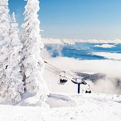 Schweitzer Mountain, Sandpoint, ID - Views from the top include three mountain ranges, three states, Canada, and 65-mile-long Lake Pend Oreille. Not only that, lift lines are nearly nonexistent, non skiers will love the free movies, guided snowshoe hikes, and on-mountain wine tastings.