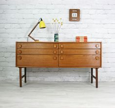 RETRO VINTAGE TEAK MID CENTURY DANISH STYLE SIDEBOARD CHEST OF DRAWERS 50s 60s | eBay