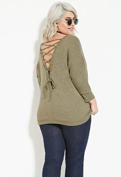 Plus Size Dolman Lace-Up Sweatshirt