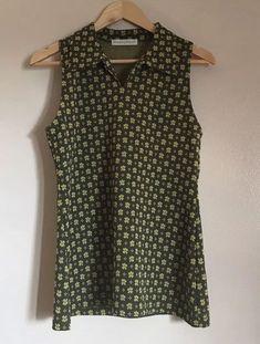 4ac454d2e4c Vintage 70s Women's Sz M/L Olive Green Polyester Sleeveless Top #fashion  #clothing