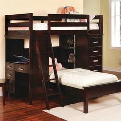 Wildon Home Depoe Bay Twin over Twin L-Shaped Bunk Bed with Desk and Bookshelves.  wal mart 1.300
