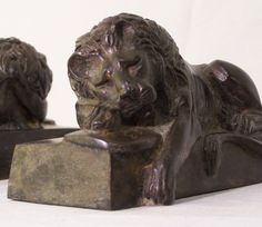 Pair of signed Bradley Hubbard bronze lion book ends