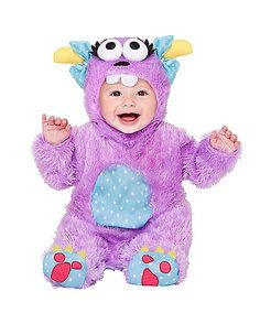 Baby Faux Fur Little Purple Monster Costume  sc 1 st  Pinterest & Baby Monster Costume Fuzzy Furry Pink Halloween Fancy Dress ...