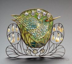 Rare and Important Arts & Crafts Plique-a-jour Enamel and Gem-set Brooch, C.R. Ashbe executed by A. Gebhardt and W. Mark, c. 1902