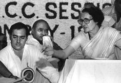 An early 1984 file photo of late Prime Minister Indira Gandhi and her son Rajiv at a Congress Party meeting in New Delhi.