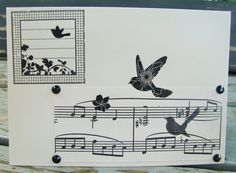 Musical Birds handmade card any occasion FWB by RogueKissedCraft Vintage Sheet Music, Black Flowers, Recycled Materials, Etsy Store, Birthday Cards, Musicals, Recycling, Birds, Awesome
