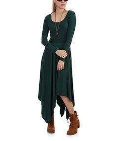This Green Belted Handkerchief Dress is perfect! #zulilyfinds