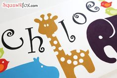 Free templates and how-to for stenciling animal wall art for kids' rooms