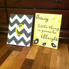 Chevron canvas with letters and then make the other a quote about service