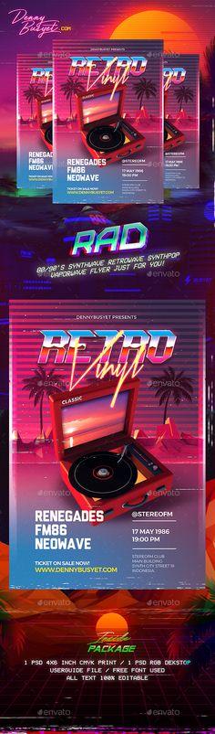 Retro Vinyl 80's Synthwave Flyer Template PSD