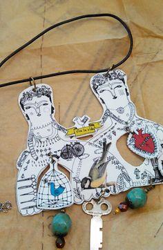 Las Dos Fridas - Necklace made with shrink plastic -  Art by Thelma Lugo