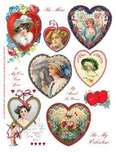 Miniature Printables - Vintage Valentines (V)