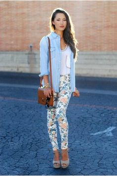 Floral pants with a denim top