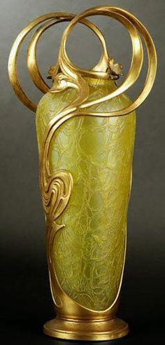 Art Nouveau - Vase - Verre et Bronze doré - Loetz - Autriche