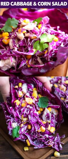 Refreshing and bright this Red Cabbage and Corn Salad makes a perfect lunch or side dish. Refreshing and bright this Red Cabbage and Corn Salad makes a perfect lunch or side dish. Vegetable Recipes, Vegetarian Recipes, Cooking Recipes, Healthy Recipes, Beef Recipes, Easy Recipes, Chicken Recipes, Salad Recipes Video, Easy Cooking
