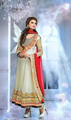 Off White Embroidered Georgette Long Anarkali Dress Price: Usa Dollar $125, British UK Pound £74, Euro92, Canada CA$136 , Indian Rs6750.