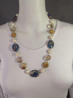 Medium length chunky gemstone necklace. Oversized cream pearls, light topaz crystals, Kalahari picture stone and blue imperial Jasper - Michela Rae