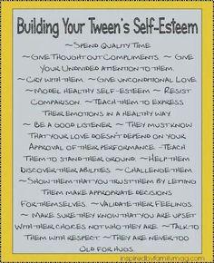 Building Your Tween's Self Esteem