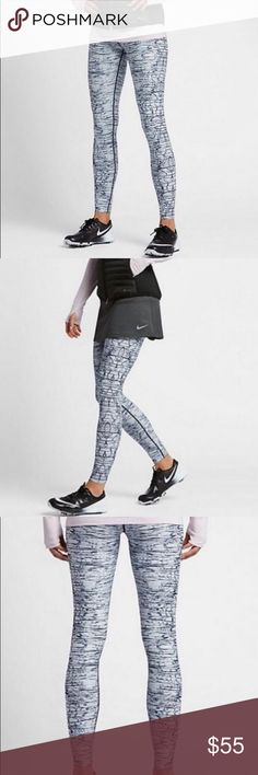 NIKE WOMENS PRINTED TIGHTS  Black Metallic Silver STRETCH, COMFORT AND STYLE. The Nike Women's Printed Golf Tights are made with flat seams and stretchy Dri-FIT fabric that hugs your body for total comfort through every round. BENEFITS Dri-FIT Technology helps keep you dry and comfortable Elastic waistband and stretch fabric offer a locked-in feel Lined inseam gusset allows natural movement PRODUCT DETAILS Fabric: Body: Dri-FIT 88% polyester/12% spandex. Gusset lining: 100% polyester…